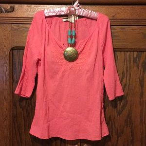 Coral 3/4 Length Tunic